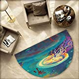 Fantasy Half Round Door mats Giant Jellyfish and Diver in The Sea Underwater Submarine Aquatic Artwork Print Bathroom Mat H 78.7'' xD 118.1'' Teal Purple