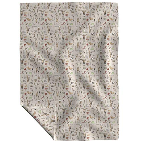 Roostery Organic Fleece Throw Blanket - Nature Adventure Mountains Elk Bear Camping by Mulberry Tree - 48 x 70in