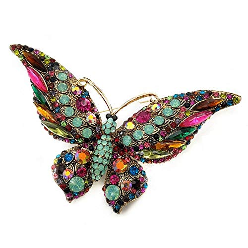 (DREAMLANDSALES Vintage Art Deco Statement Large Multicolored Crystal Butterfly Brooch Pin with Turquoise Green Accent)