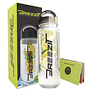 Breezit 24 Oz Sports Water Bottle with Infusers BPA Free Tritan Plastic-Dual Purpose Travel Bottles with Removable Infuser for Men and Women-Enjoy Infused Water with Included Fruit Infusion Recipe