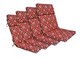 Bossima Indoor/Outdoor Red Damask High Back Chair Cushion, Set of 4,Spring/Summer Seasonal Replacement Cushions.