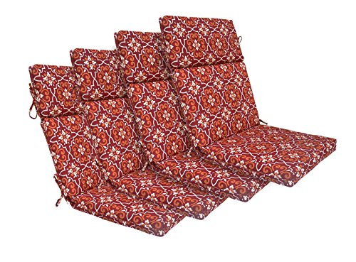 Bossima Indoor/Outdoor Red Damask High Back Chair Cushion, Set of 4,Spring/Summer Seasonal Replacement Cushions. (Replacement Furniture Cushions Indoor)