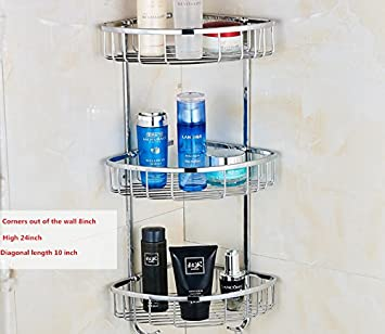 Flyingus 304 Stainless Steel Bathroom Accessories,Free Standing Bathroom Or Shower  Corner Storage Shelves For