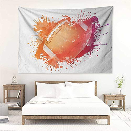 alisos Sports,Wall Decor Tapestry Rugby Ball in Digital Watercolors Splash Recreational Leisure Sports Run Design 80W x 60L Inch Tapestry Wallpaper Home Decor Orange Red ()