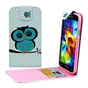 Owl Pattern Flip Leather Case Funda Vertical con ranuras Carcasa para Samsung Galaxy S5 i9600 y G900 /