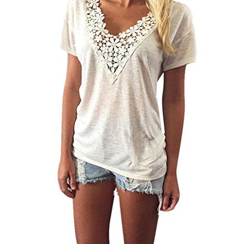 Kolylong Frauen Spitze Weste Spitze Bluse Tanktops T Shirt (XL, Weiß)