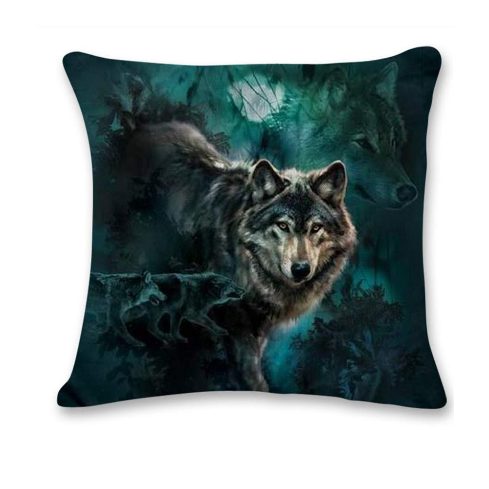 Pgojuni Cute Wolf Tower Flax Pillowcase Decoration Throw Pillow Cover Cushion Cover Pillow Case for Sofa/Couch 1pc (J)