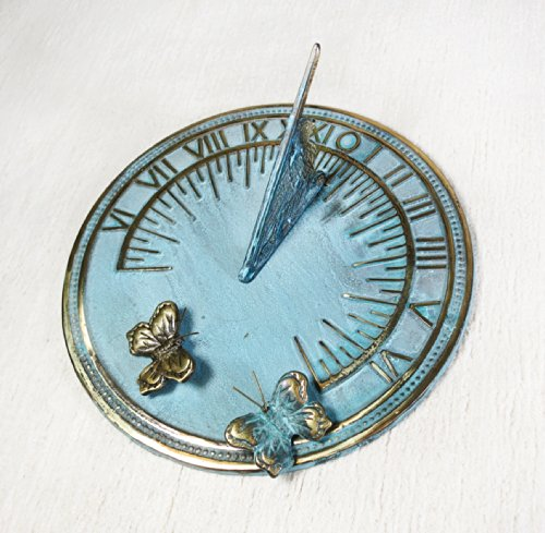 Decorative Brass Sundial 7'' inches wide - with 2 Little Butterflies by Taiwan