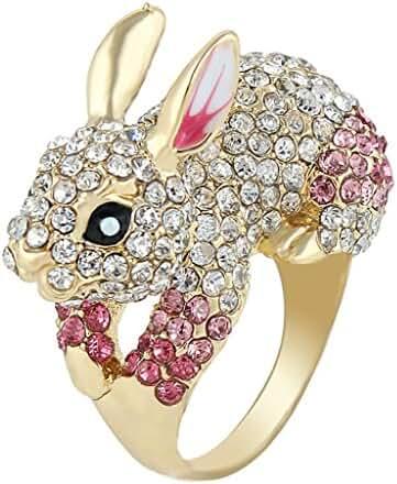 EVER FAITH Cute Gold-Tone Rabbit Ring Austrian Crystal Pink