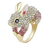 EVER FAITH Cute Gold-Tone Rabbit Ring Austrian Crystal Pink - Size 7