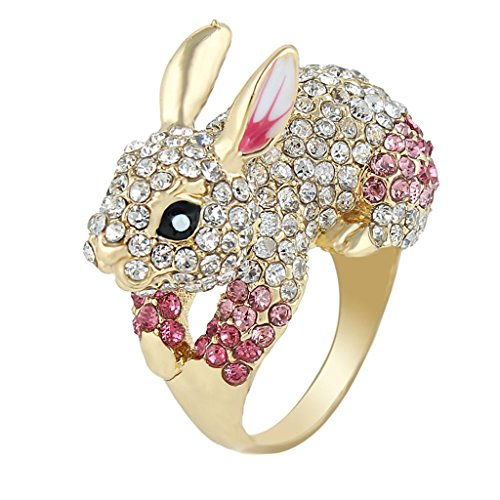 EVER FAITH Cute Gold-Tone Rabbit Ring Austrian Crystal Pink - Size 9 (Cocktail Tone Ring Gold)
