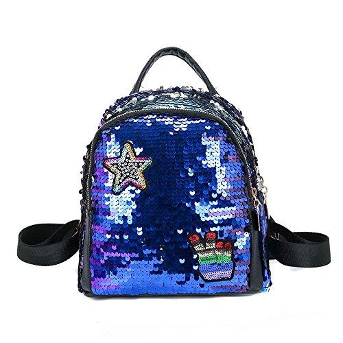 SODIAL Mochila de mujer Bolsas de escuela para ninas Mochilas pequenas Mochila de viaje femenina Mochilas de escuela de lentejuelas Azul: Amazon.es: Zapatos ...
