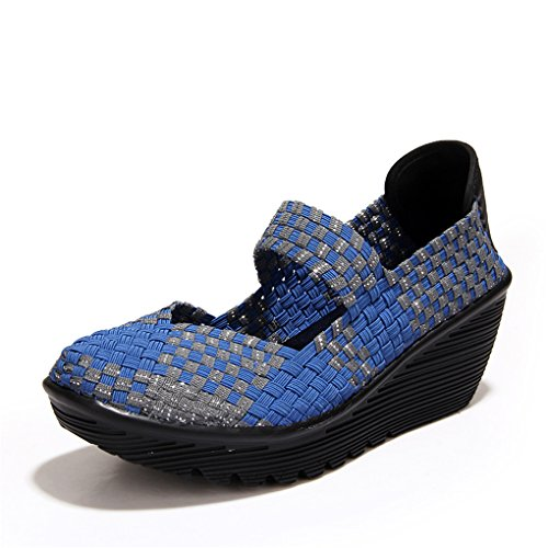 Walking On Slip YY Shape Elastic Summer Women's Weave Sneakers Blue Rui Breathable Up ZF8XwY