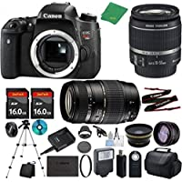Canon T6s Camera with 18-55mm IS STM + Tamron 70-300mm AF Lens + 2pcs 16GB Memory + Case + Reader + Tripod + ZeeTech Starter Set + Wide Angle + Telephoto + Flash + Filter