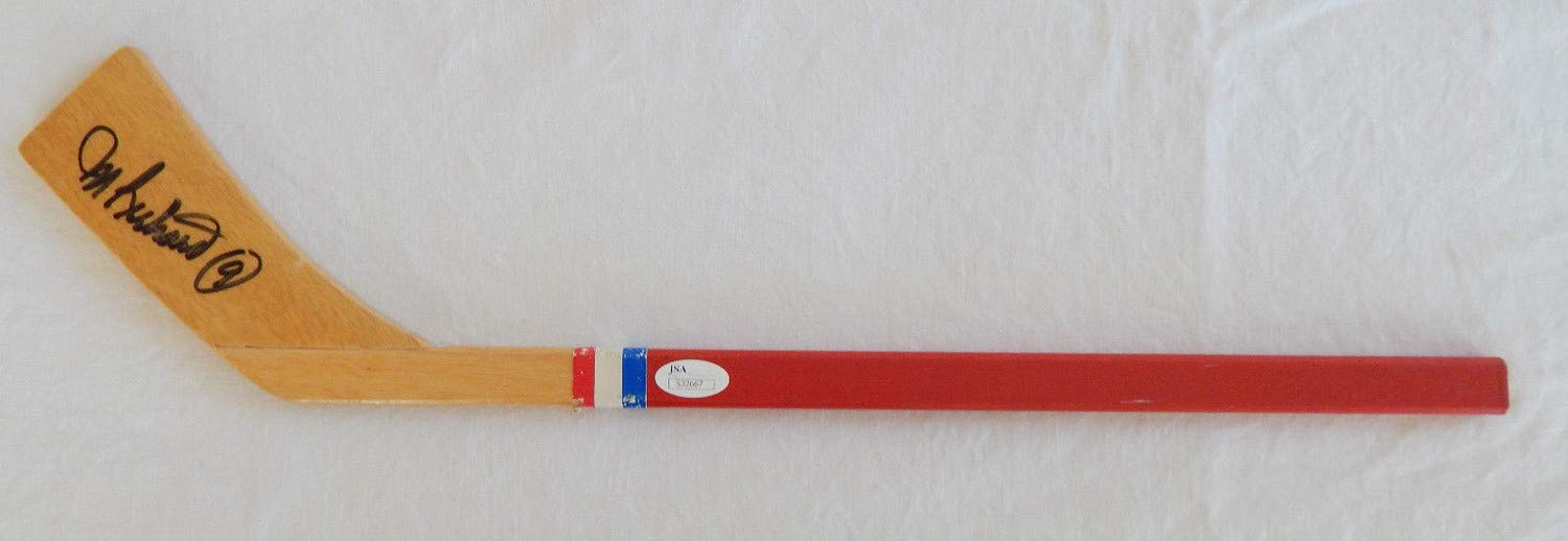 Maurice Rocket Richard & Bobby Hull Autographed Signed On Nm Canadiens Mini Stick JSA Authentic