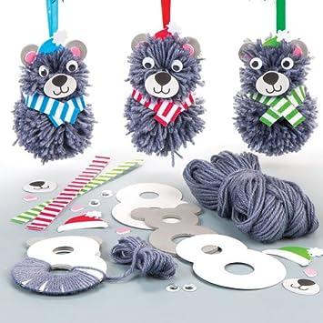 Bastelsets Für Pompon Anhänger Weihnachts Teddybär Für
