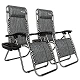 Bonnlo Infinity Zero Gravity Chair, Outdoor Lounge Patio Chairs with Pillow and Utility Tray Adjustable Folding Recliner for Deck,Patio,Beach,Yard Pack 2 (Gray) For Sale