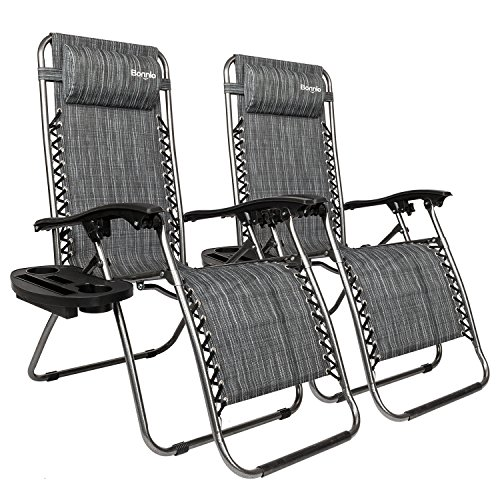 Bonnlo Infinity Zero Gravity Chair, Outdoor Lounge Patio Chairs with Pillow and Utility Tray Adjustable Folding Recliner for Deck,Patio,Beach,Yard Pack 2 (Grey)