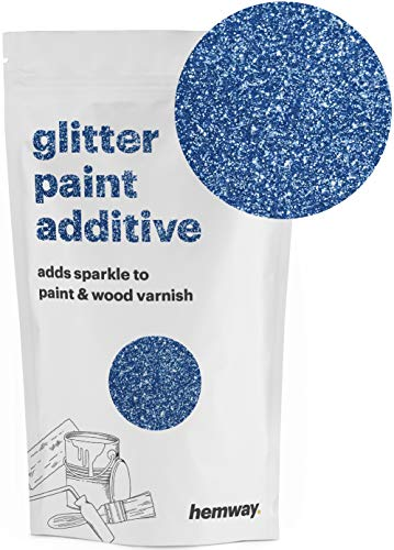 Hemway | Glitter Paint Additive 110g/3.5oz Acrylic Latex Emulsion Water Based Paints Interior/Exterior Wall, Ceiling, Wood, Metal, Varnish, Dead flat, Matte (Azure) ()