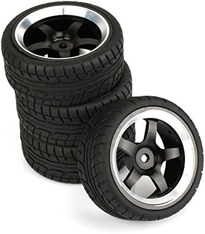 Mxfans RC 1: 10オンロード車プラスチックタイヤセットwithブラック5-spokes合金ホイールリムのセット4