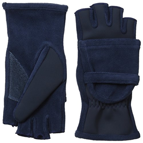 Isotoner Women's Hybrid Convertible Fingerless Glove Unlined, Navy, One Size