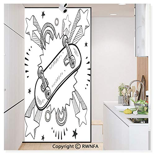 """Decorative Window Films Kitchen Glass Sticker Sketch of a Skateboard with Sixties and Seventies Style Pop Explosion Background Waterproof Anti-UV for Home and Office 11.8"""" x 59.8"""",Black White"""