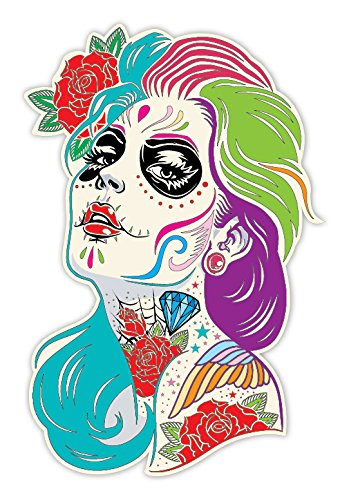Osmdecals sugar skull sticker version 4 day of the dead vinyl wall home decor