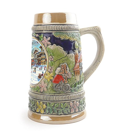 """Winter In Germany"" Essence of Europe Gifts E.H.G. Collectible Ceramic Shot Glass Mini Beer Stein (#1 in Collection of Four Shot Steins)"