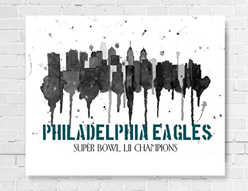 Bowl Canvas Print (Philadelphia Eagles Super Bowl LII Champions Philadelphia Skyline Art Giclee Canvas Print 8x10 or 11x14 or 16x20 Skyline Canvas by Artist Amber McDowell)