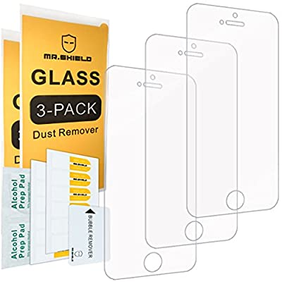Mr Shield [3-PACK] For iPhone SE/iPhone 5/5S/iPhone 5C [Tempered Glass] Screen Protector with Lifetime Replacement Warranty by Mr Shield