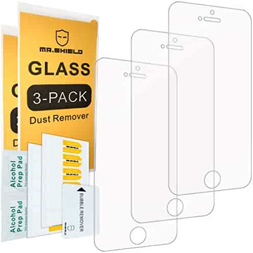 Mr Shield [3-PACK] For iPhone SE/iPhone 5/5S/iPhone 5C [Tempered Glass] Screen Protector with Lifetime Replacement Warranty