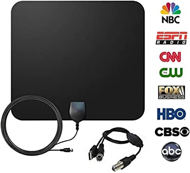 Antena de TV, Amplificador Antena TV Interior Antena Digital HDTV Antena Portatil Ultra Delgado Antena TDT