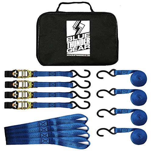 Blue Thunder Gear Ratchet Tie Down Straps, Truck or Trailer Hauling | Moving Furniture | Kayak, Motorcycle etc. | 4 Straps, 4 Ratchet Sets, Plus Carrying Case