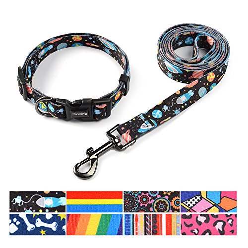 Pet Set Dog Leash Collar (ihoming Pet Collar Leash Set Combo Safety Set for Daily Outdoor Walking Running Training Small Medium Large Dogs Cats)