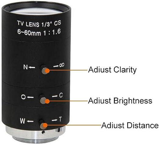 Festnight Cs C Mount Objektiv 6 60 Mm F1 6 Handbuch Iris Zoom Varifocal Für Cctv Kamera Industrielles Mikroskop Baumarkt