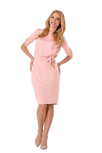 Futuro Fashion® Women's Shift Dress With Belt Boat Neck 3/4 Sleeve 8986