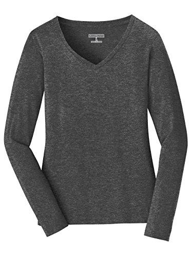 Kamal Ohava Women's Long Sleeve V-Neck T-Shirt, Heather Grey, 4XL Plus