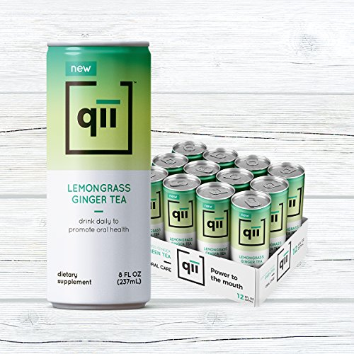 Xylitol Green Tea Gum - qii Lemongrass Ginger Tea – Removes up to 52% of plaque in one serving, Neutral pH, Sweetened with Xylitol, Dentist-Approved, Brewed with Certified Organic Tea, 30 calories, 12 pack - 8oz cans
