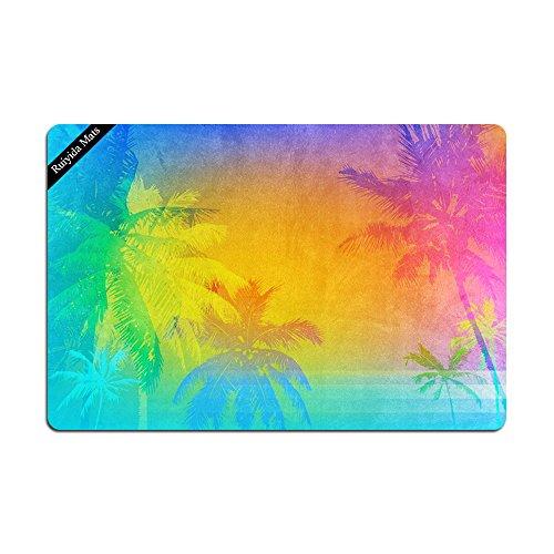 Summer Ocean Sea Beach Tropical Palm Trees Doormat Entrance Floor Mat Funny Doormat Door Mat Decorative Indoor Outdoor Doormat Non-woven 23.6 By 15.7 Inch Machine Washable Fabric Top by Ruiyida Mats