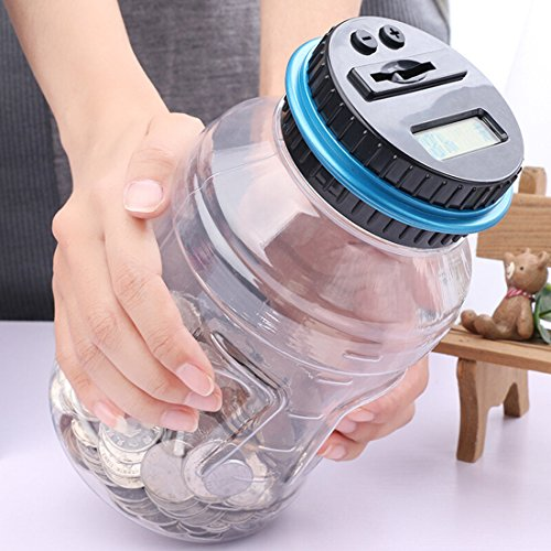 - AblueA Piggy Bank Digital Automatic Counting Coin Bank Jar Large Money Saving Box Change Container with LCD Display (Fits for All American Coins)