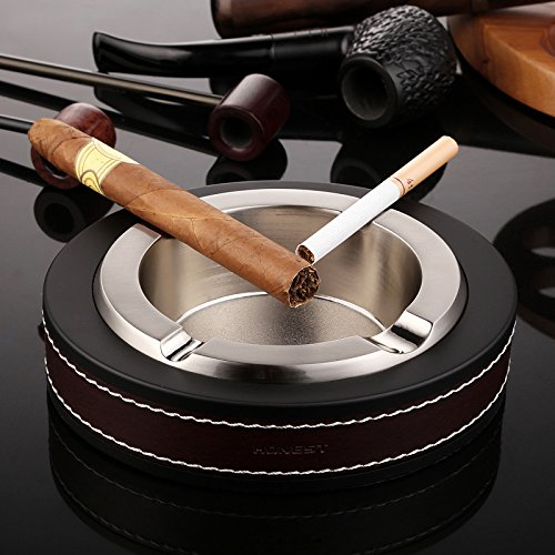 Cigar Ashtray,Stainless steel Leather Creative Fashion Tabletop Cigarette Ashtray For Indoor or Outdoor Use,Ash Holder for Smokers, Desktop Smoking Ash Tray for Home office Decoration(Silver) (Cigarette Cigar Ashtray)