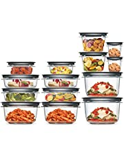 Rubbermaid Meal Prep Premier Food Storage Container, 28 Piece Set, Grey