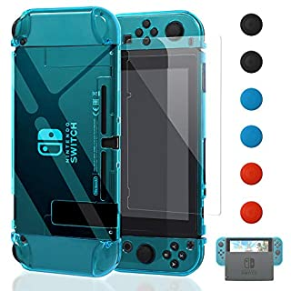 Dockable Case for Nintendo Switch [Updated],FYOUNG Protective Accessories Cover Case for Nintendo Switch and Nintendo Switch Joy-Con Controller with a Tempered Glass Screen Protector - Clear Blue