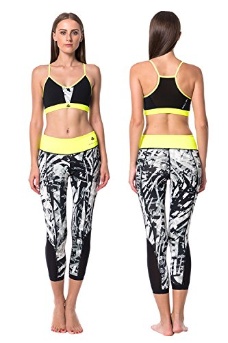 Women's Neon Yellow Sports Bra and Capri Leggings Set, Pants w Hidden Pocket & Tops w Removable Cup, Active Suit for Girls & Lady, Activewear for Yoga Workout Running Jogging Walking Gym