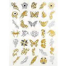 HJLWST 4PCS Flash Tattoo Gold Tattoo Taty Tatouage Temporary Tattoo Sticker Metallic Tattoo Metal Tatoo Fake Tatto