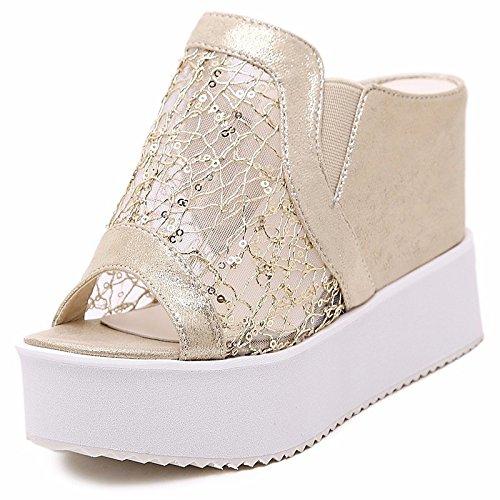 Estate Comfort Tacco Primavera Scarpe cuneo pu ZHZNVX a argento oro sandali per Casual Silver donna xwgqZIHa