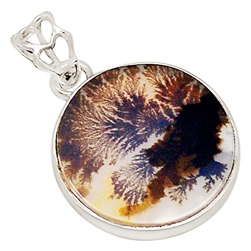 (Xtremegems Russian Dendritic Agate 925 Sterling Silver Pendant Jewelry 1 1/8