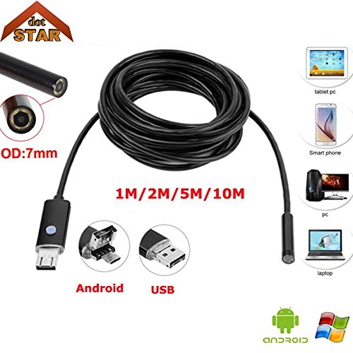 HITSAN android usb endoscope camera 7mm 2in1 1m 2m 5m 10m stardototg micro ip67 waterproof 6pcs led usb snake tube inspection - Micro Camera Weatherproof Bullet