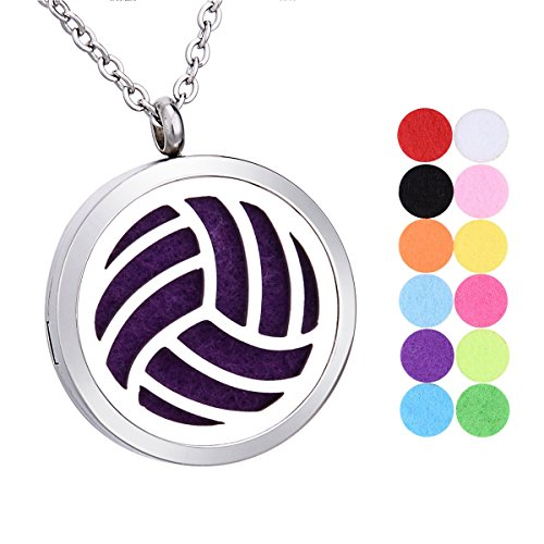 SG Volleyball Aromatherapy Essential Oil Diffuser Necklace Stainless Steel Pendant Locket with 12 Pads (Locket Volleyball)