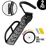 2 pcs Hanging Bike Rack with Anti Dirt Tire Cover, Heavy Duty Wall Mount Bike Hanger Hook for Garage Storage System Indoor Shed, Holds Up to 66 lbs for Mountain Bike Road Bikes BMX, Screws Included